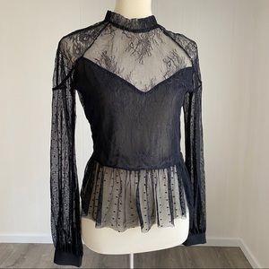 Imperfect BARDOT Black Lace Peplum Top NWT